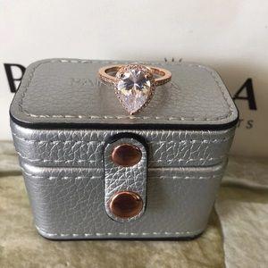 Pandora rose gold Teardrop Ring w silver  case